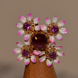 vintage ornate purple rhinestone flower pin brooch